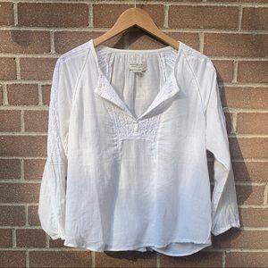 Ralph Lauren White Peasant Top - Size Medium